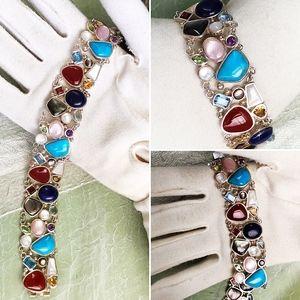 Designer Sterling Turquoise & Gemstones  Bracelet